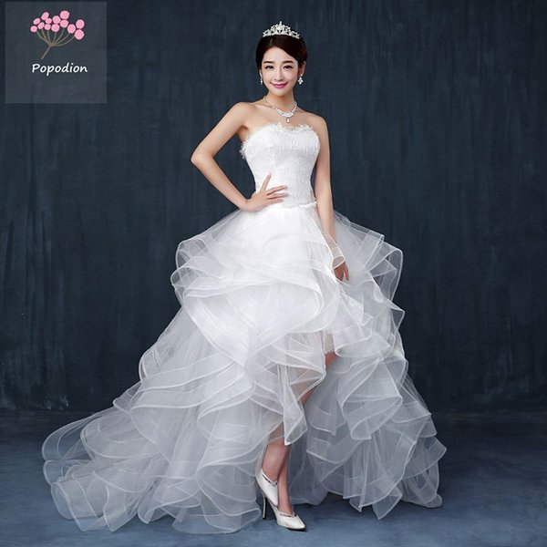Popodion strapless wedding dress sexy short front long back bride women lace long train wedding dresses