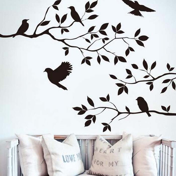 2016 Tree Branch and Birds Vinyl Art Wall Decal Removable Wall Sticker Home Decor wallpaper mural free shipping
