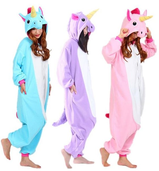 NUEVO 2018 Dibujos animados Little Pony Purple Pink Unicornio Candy Horse Onesies Jumpsuits adultos Animal Cosplay Pijamas de pijama para Halloween Navidad