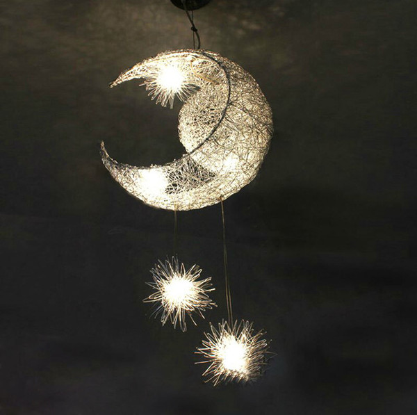 New Novelty Kid Children Room Light Lamp 5*G4 LED Modern Pendant Lighting For Bedroom Moon Star Lights Free Shipping