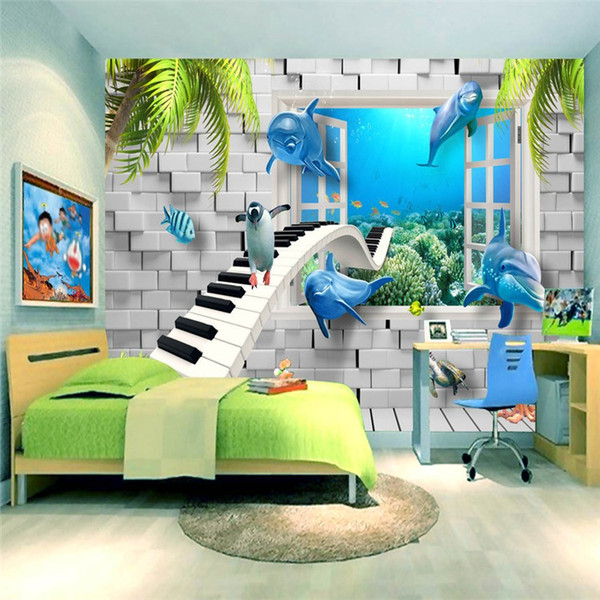 Cartoon children room ocean dolphin 3d brick wall piano large mural swimming pool wallpaper wallpaper underwater world