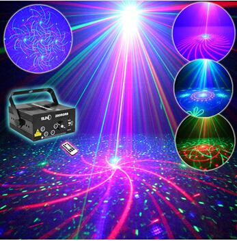 SUNY Remote 5 Lens 80 Patterns RG RB Laser BLUE LED Stage Lighting DJ Show Light Green Red Blue Home Professional Light Xmas