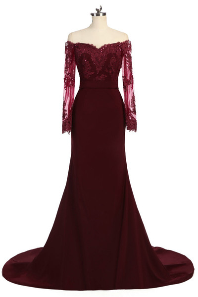 Fashion Dark Red Off the shoulder Long Prom Dress Cheap With Illusion Lace Sleeves Mermaid Chiffon Beaded Bridesmaid Evening Party Wear