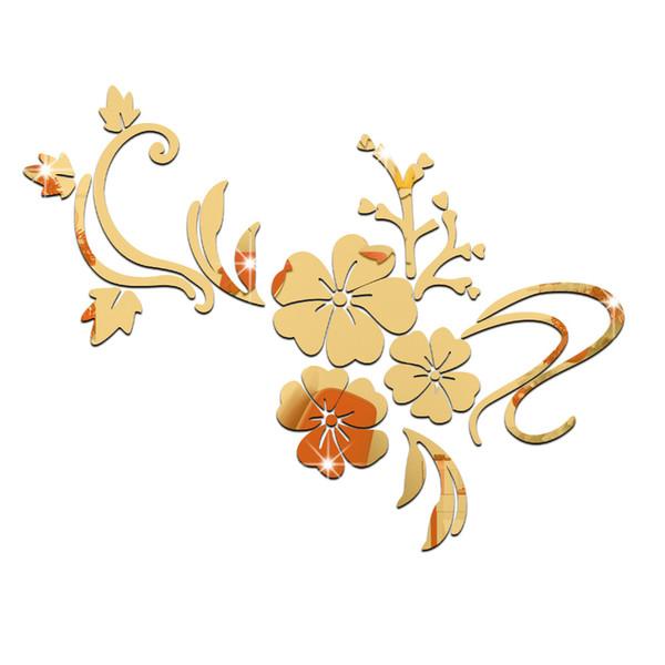 Romantic Flower Vine Smooth Mirror Wall Stickers Bedroom TV ...