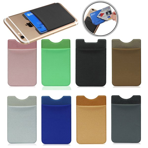 Soft Sock Wallet Credit Card Cash Pocket Sticker Lycra Adhesive Holder Money Pouch Mobile Phone 3M Gadget iphone Samsung SCA308