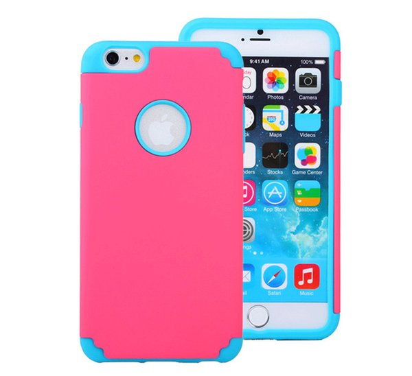 Dual Color Shockproof Rugged Hybrid Robot Silicone + PC Defender Case for iPhone 6 6S Plus Samsung S5 S6 Edge Plus Note 5 LG G3 Moto Nokia