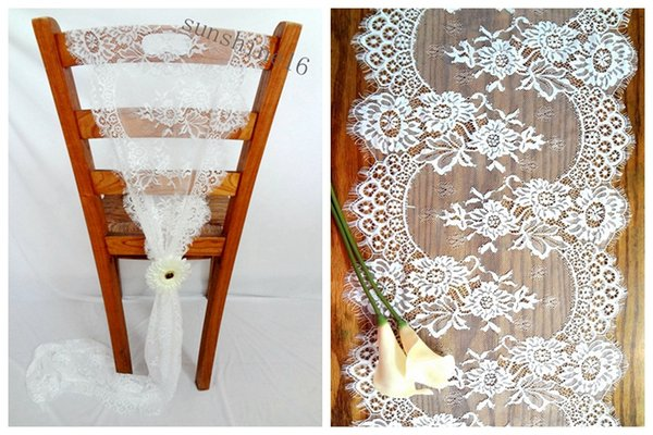 36*300cm Jacquard Lace Wedding Chair Sashes Back Covers Bows Table Runners Home Garden Decor New Classic Europe Party Event Decoration