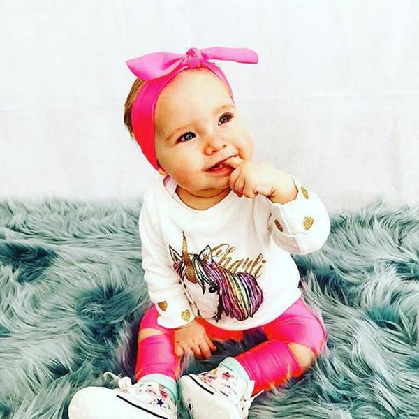 2017 Conjuntos de Bebê Nas Meninas Outono T-shirt Do Bebê + Calças Compridas + Big Bow Headbands 3 pcs Define Crianças Roupas Unicorn Polka Dot Ouro impressão