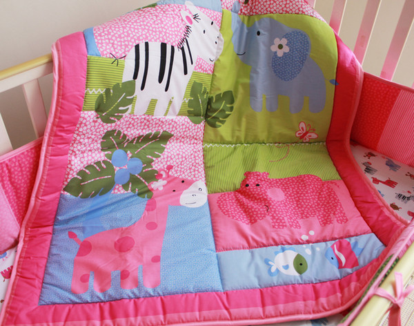Baby Girls Bedding Set Pink Cotton Crib Bedding Set Embroidery Elephant Hippopotamus Giraffe Zebra Cot Bedding Set Quilt Bumper Little Girl Bedding