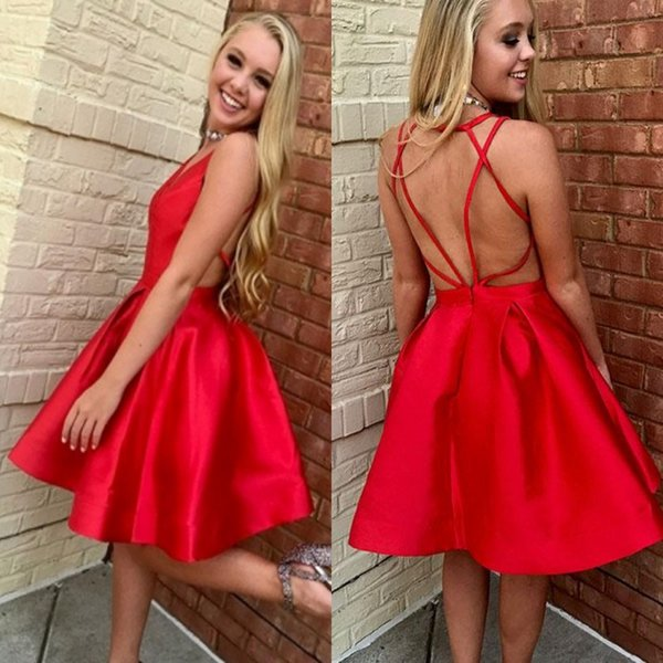 New Arrival Red Satin Homecoming Dresses Short Sexy Criss Cross Backless Ruffles A line Graduation Party Gowns Cocktail Robe de soriee