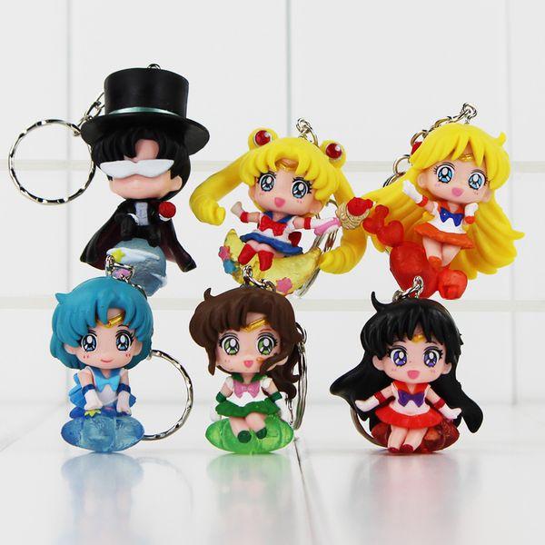 Sailor Moon Tsukino Usagi Tuxedo Mask Sailor Venus Mercury Mars Jupiter Keychain PVC Figures Toys 6pcs/set