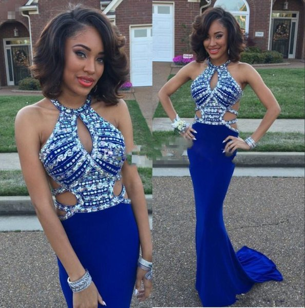 Royal Blue Crystals Beaded Prom Dresses 2017 Halter Mermaid Evening Gowns Back Cross Straps Floor Length African Pageant Party Dresses