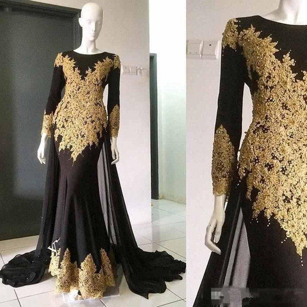 Arabic Evening Dresses Mermaid Black and Gold Applique Long Sleeves Floor Length Prom Dress Custom Made Evening Gowns