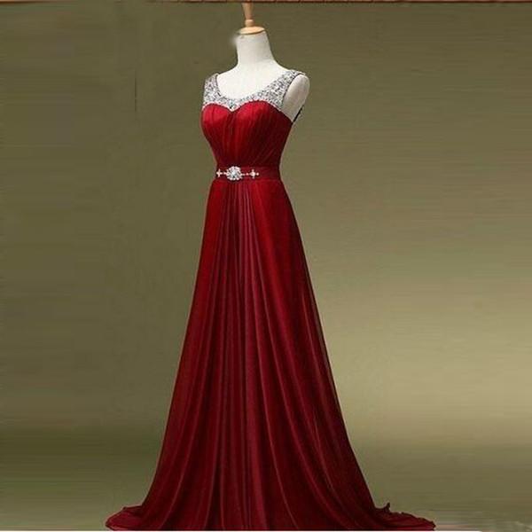 Nouvelle Collection robes de soirée rouges encolure dégagée A-line Design plissé satin jeunes filles robe de bal avec des perles de style européen Real Made