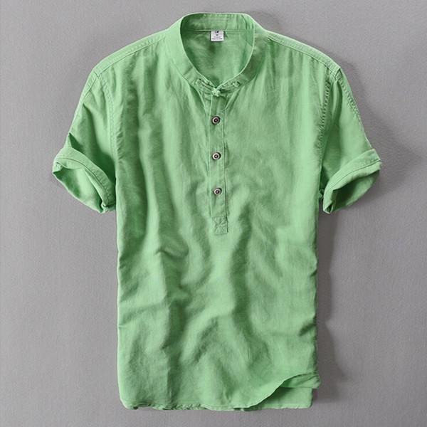 Camicia di lino maschile allentata estiva traspirante all \ 'ingrosso allentata all \' ingrosso manica corta da uomo in camicetta bianca stile cinese