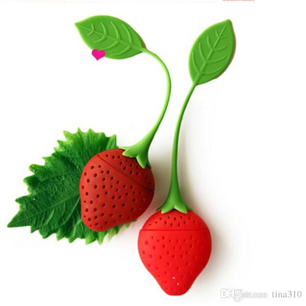 Nuovo silicone carino rosso fragola con foglia Tea Leaf Setaccio tè infusore filtro strumenti da tè B0454