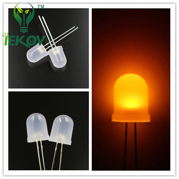 500pcs/lot 10mm Diffused Orange/Amber LEDs 10MM Round top Ultra Bright LED Emitting Diodes Lamp Electronic Components High Quality Wholesale