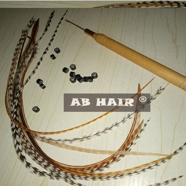 12pcs natural color feather hair extension 20-35cm 100% Real Grizzly Thin Rooster Feather hair extensions feather hair exporter