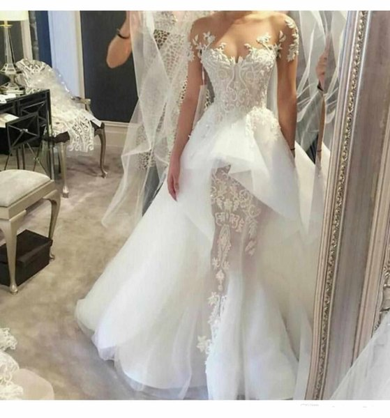 2017 Beautiful Elegant Lace Wedding Dresses Off Shoulder Illusion Beaded appliques Sleeveless Court Train Overskirts Bridal Gowns
