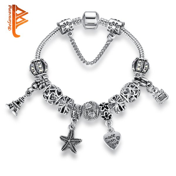 BELAWANG Mix Style European Silver Plated Charm Beads Bracelets DIY Jewelry Heart Charm Starfish Bracelets With Safety Chain Christmas Gift