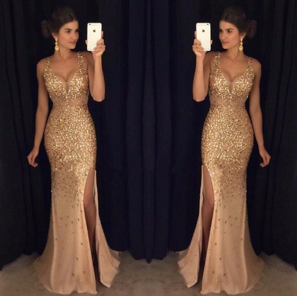 Gold Shinny Prom Dresses 2017 Sexy V Neck Cap Sleeves Beaded Sequins Crystal Right Side Slit Prom Dresses Formal Party Dresses