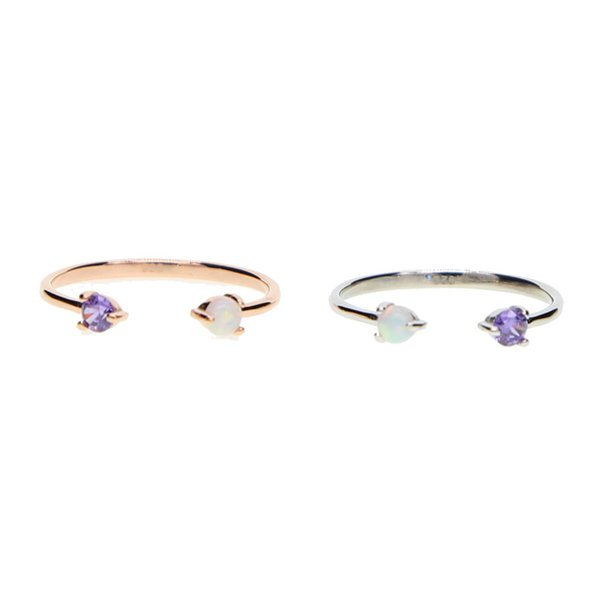 Dainty champagne rose gold color open delicate finger rings 925 sterling silver for women wedding purple zirconia & white opal fire rings