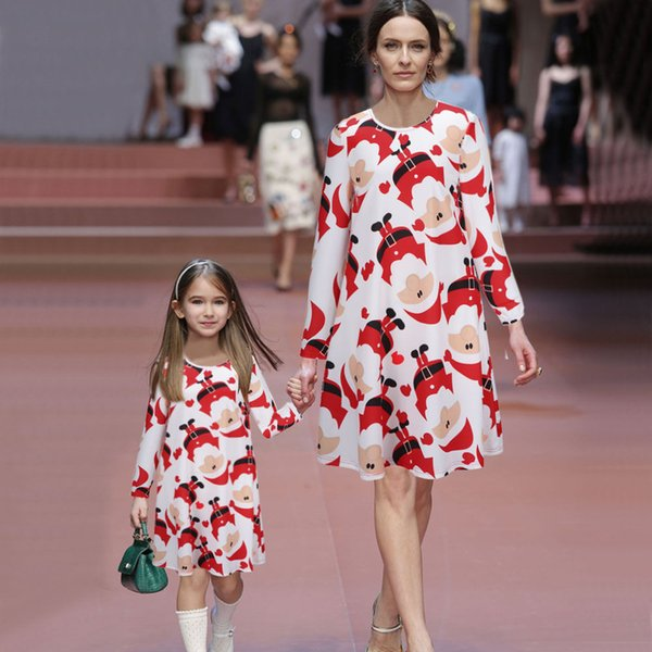 Mother Daughter Dresses Santa Matching Mother Daughter Clothes A-line Dress Mom And Daughter Dress Family matching outfits 2016
