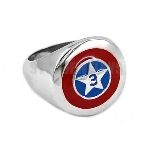Free Shipping! Captain America Shield Ring Stainless Steel Jewelry Fashion Pentagram Shield Motor Biker Ring Wholesale SWR0565B