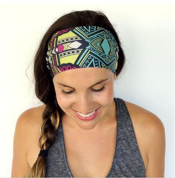 2016 Women Bohemia Headbands 16Colors Women Sports Yoga Headbands Lady Printing Pattern Hairbands Sports Hair Accessories