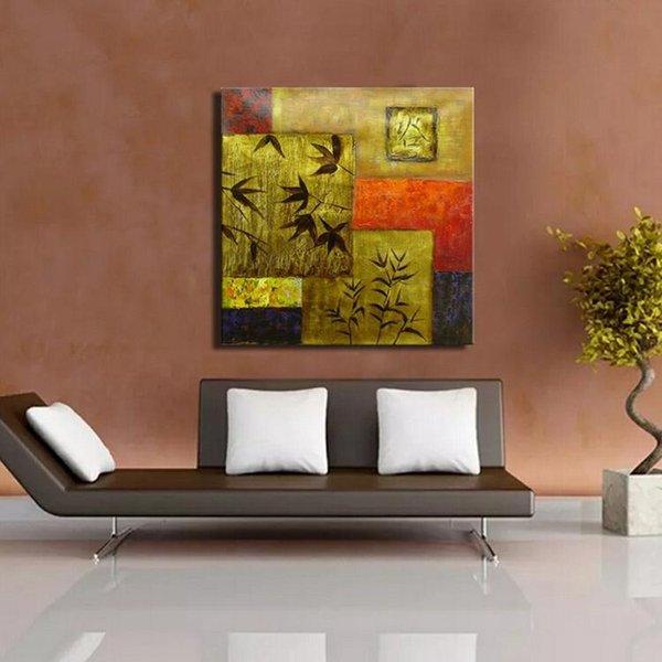 Acheter Gros Prix Foncé Or Couleur Feuilles Et Géométrique Mur Art Photo Peinture à L Huile Art Moderne Style Pour La Décoration De La Chambre De