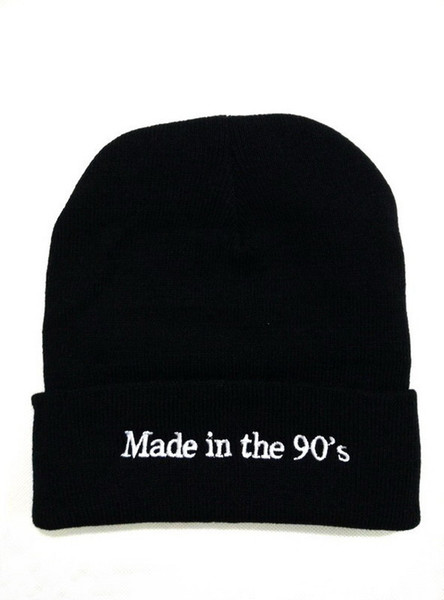 Winter warm men and women knitted hat English alphabet pattern fashion wool cap no eaves cap Skull Caps