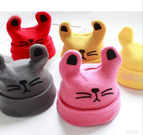INS Baby gorros de dibujos animados Kitty Woolen Hilado Otoño Invierno Gorros de Punto Regalos de la Muchacha Sombreros Infantiles Orejas de Conejo Lindo Sombreros 12 Colores LC645