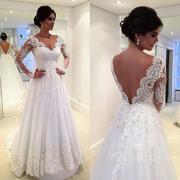 ce384f0626 Beautiful 2016 Wedding Dresses Lace Applique A Line V Neck Illusion Long  Sleeves Low Bare Back Court Train Tulle 2017 Bridal Gowns