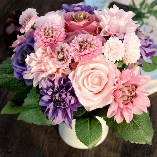 Discount Silk Flower 1 Bouquet Roses Dahlias Artificial Flowers Fall ...