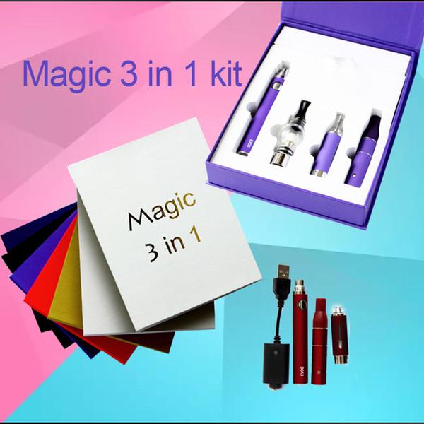 HOT magic 3 in 1 Kit wax dry herb e-liquid atomizers ecigs kit MT3 AGO G5 glass globe 3in1 evod battery vape Free DHL