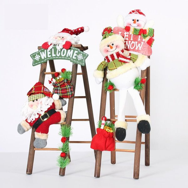 Christmas Decoration Lovely Cartoon Plush Toy Santa Claus/Snow Man Pendant Wooden ladder Door Figurines Xmas Orinaments Gifts