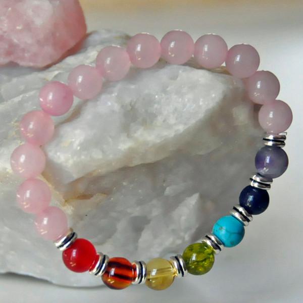 Pulsera de Cuarzo Rosa Con Cristales Chakra Piedras Preciosas Buen Valor Pulsera