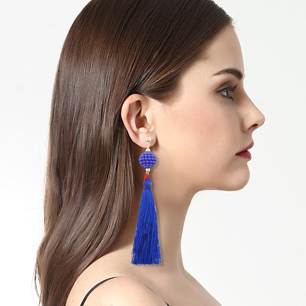 best selling 10 Colors Long Section Of The Retro Tassel Earrings 2018 Hot Small Ball Earrings Fashion Temperament Earrings Wholesale DHL Free Shipping
