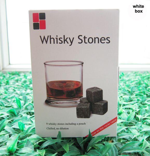 Weihnachtsgeschenk! Whiskey Rocks 9pcs / set in Delicate Geschenkbox + Samtbeutel Whiskey stones Hochzeit Dekoration