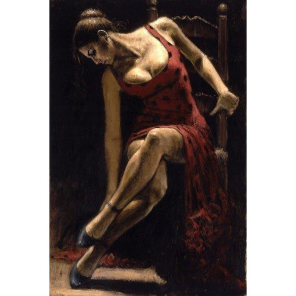 Modern figure oil paintings Dancer on the Chair handmade canvas art for bedroom High quality