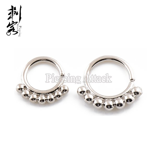 Brass Simple Ball Septum Clicker Nose Ring Indian Nose hoop Piercing Jewelry Lot of 10pcs Free Shipping