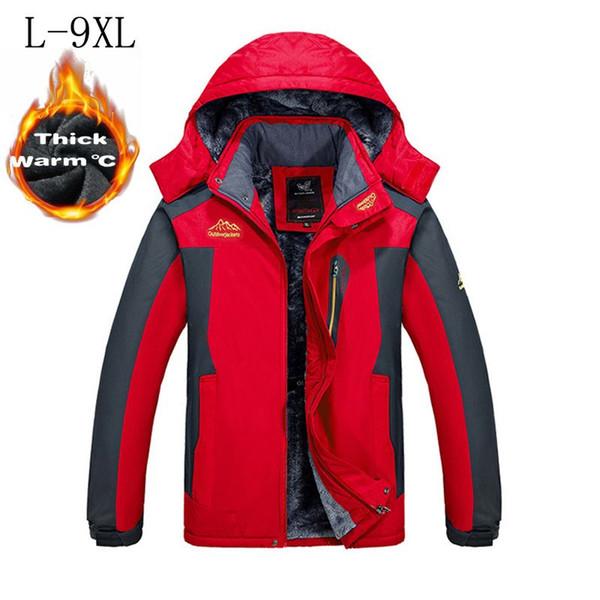 -30 C FIT Plus Velluto di spessore Parka giacca 6XL 7XL 8XL 2017 giacca invernale da uomo impermeabile antivento chaquetas hombre
