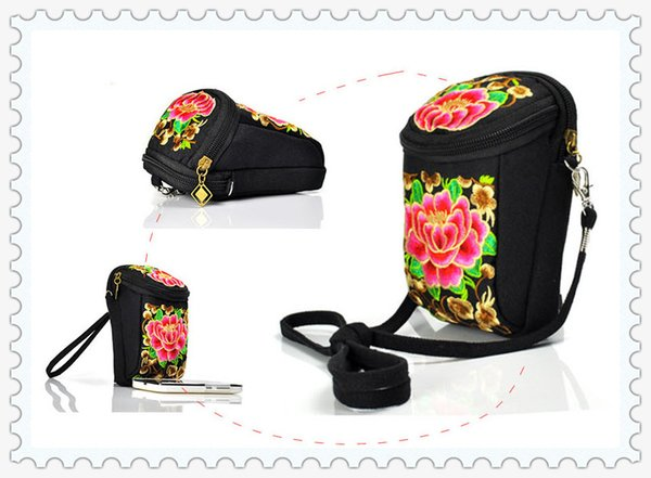 2016 NEW China traditional embroidery factory direct hand embroidery silk national package diagonal dual-use change mobile phone camera bag