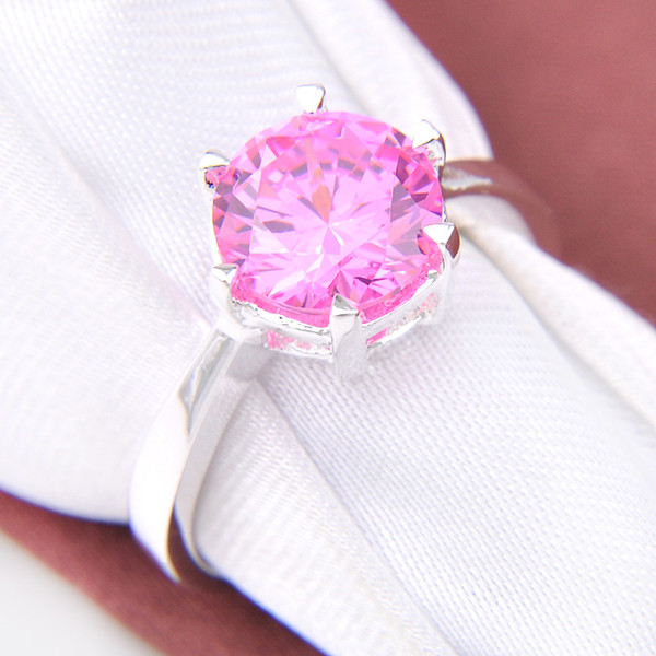 09239f134 925 sterling silver Round Fire Pink Zirconia Gems Rings diamond ring for swarovski  crystal Jewelry 2