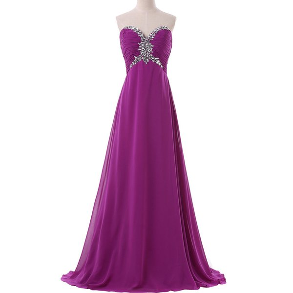 Build in Bra Strapless Prom Dresses Women Formal Gowns Purple Bridesmaids Dress Chiffon Long Bridesmaid Dresses for Party Real photos