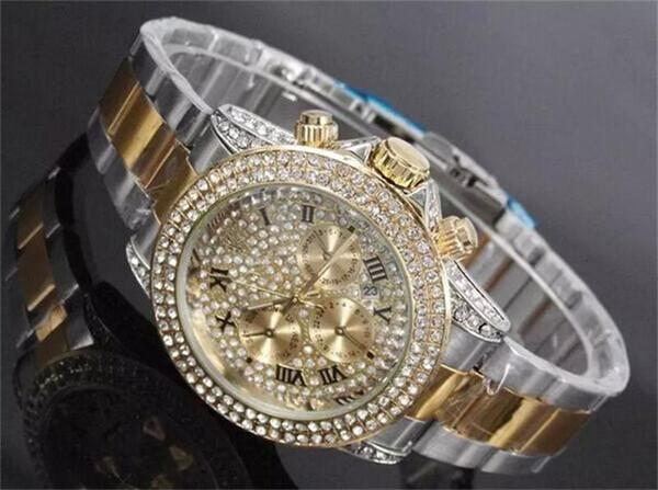 Luxury Rhinestone Diamond inlay Clock dial Style calendar Watches fashion Full Steel Man/Woman Watches wholesale