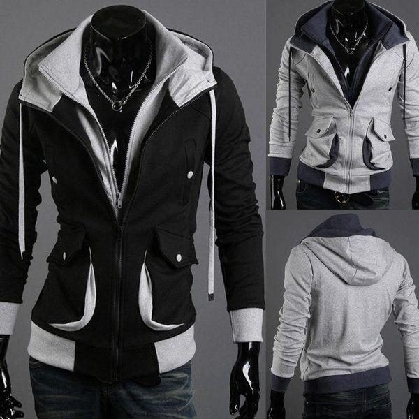 Herren-Outfit mit Kapuze Strickjacke männlichen Selbstkultivierung Mantel  Credo dreidimensionale Tasche napping Vliesen Oberbekleidung Pullover 4806ef481c