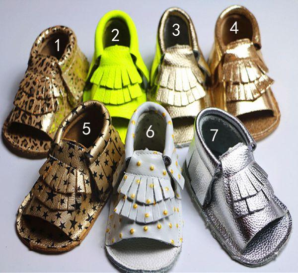 7 colores de cuero de vaca Mocasines infantiles con punta abierta Sandalias de leopardo engrosadas Borlas de bebé EMS Star dot leather 2layer flinge shoes B001