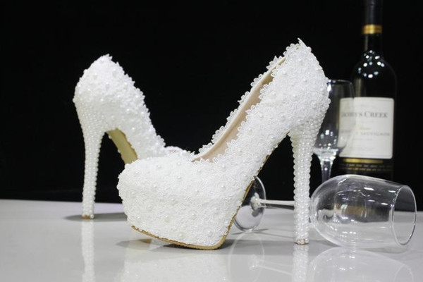 Fashion Luxury Beaded White Lace Pearls Wedding Shoes High Heels Bridal Shoes Party Prom Women Shoes Free Shipping