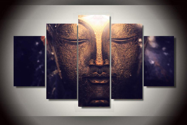 5Pcs With Framed Printed buddha Head portrait Painting on canvas room decoration print poster picture canvas large canvas art cheap